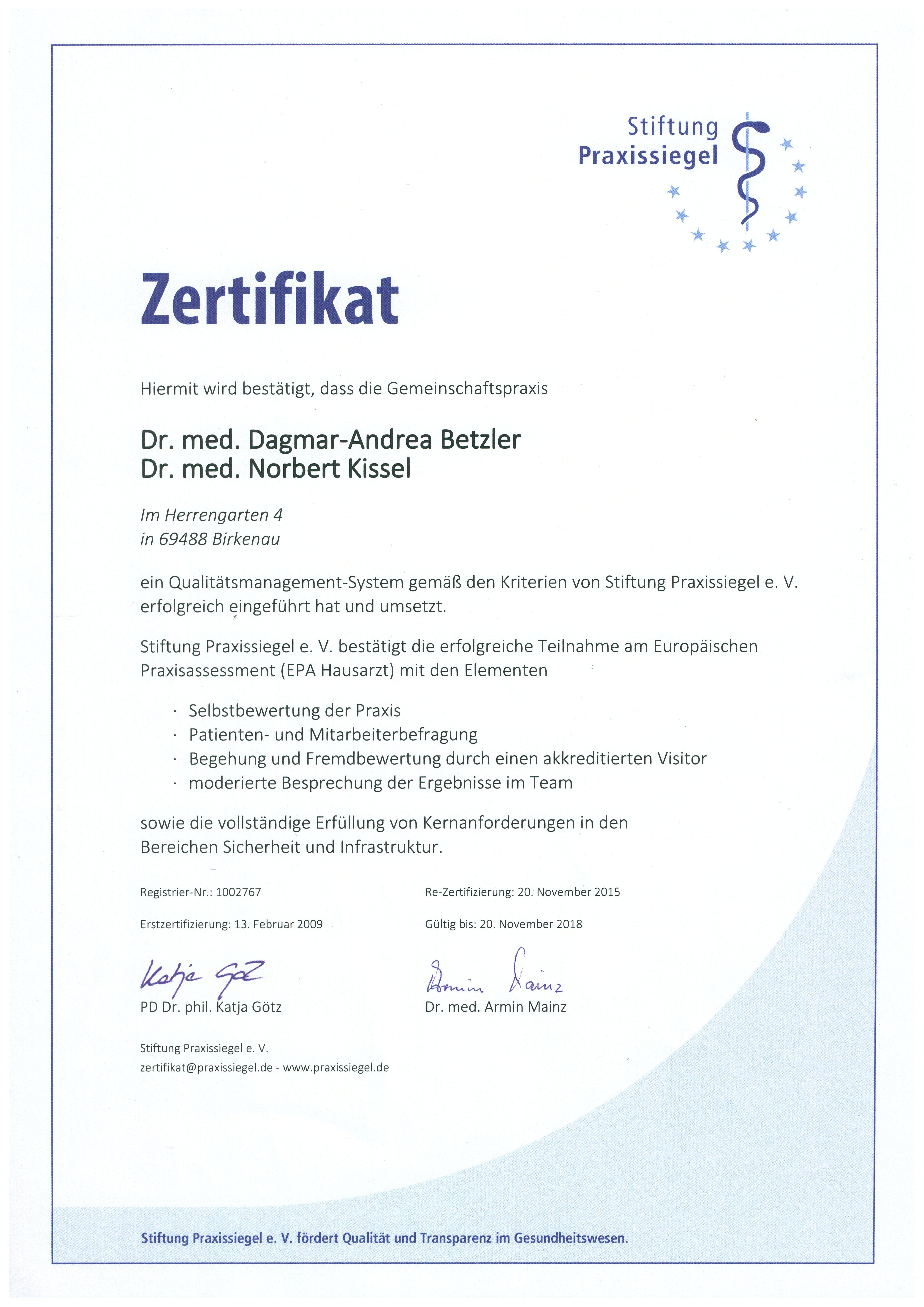 Zertifikat Praxissiegel
